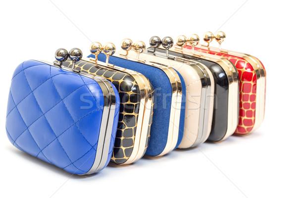 Conjunto elegante feminino azul preto couro Foto stock © Discovod