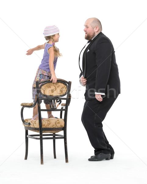 Küçük kız eğlence beyaz çocuk Stok fotoğraf © Discovod