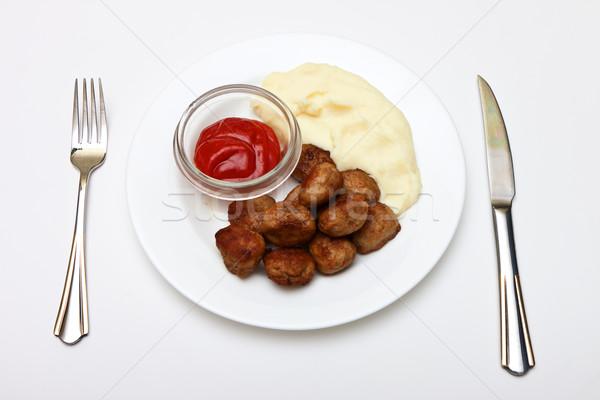 Húsgombócok fotó tányér fehér vacsora hús Stock fotó © Discovod