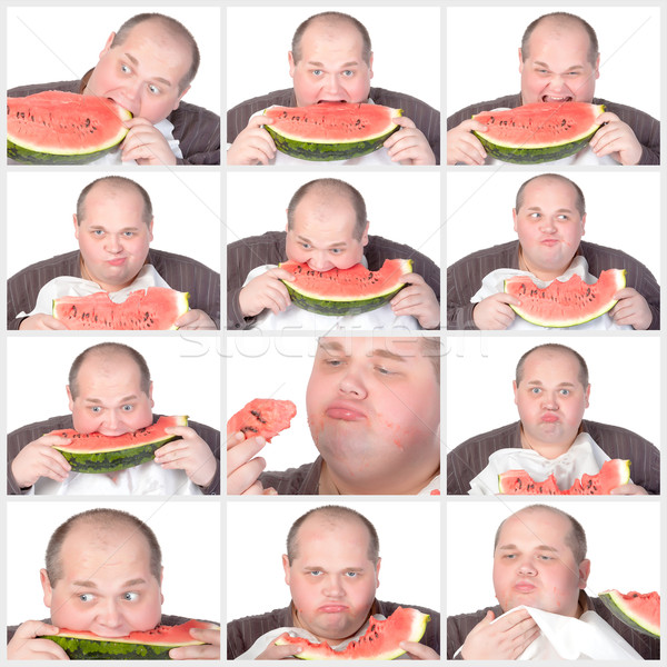 Collage portrait obese man eating a large slice of fresh juicy w Stock photo © Discovod