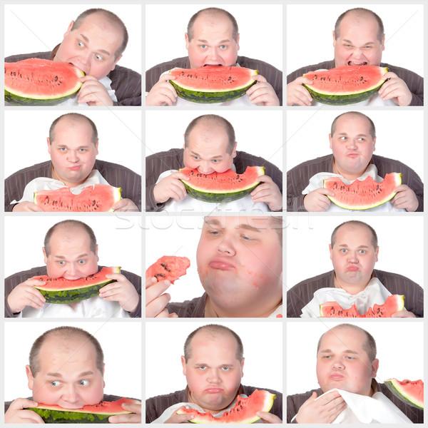 Collage Porträt fettleibig Mann Essen groß Stock foto © Discovod