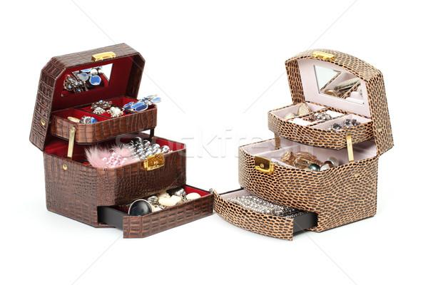 Cuir boîte cosmétiques bijoux blanche mode Photo stock © Discovod