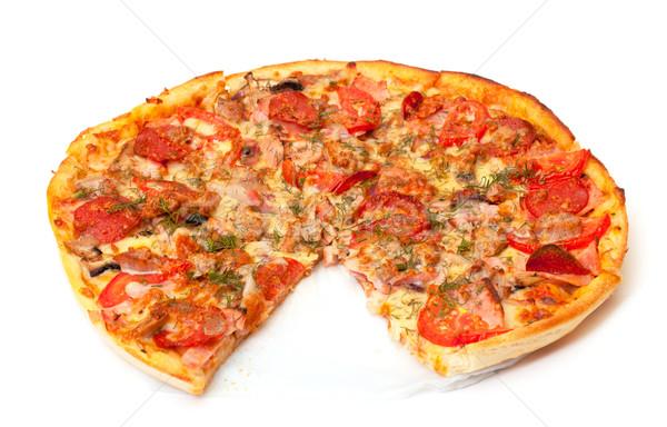 ピザ 白 背景 トマト ストックフォト © Discovod