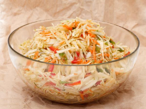 капустный салат стекла чаши коричневый бумаги Сток-фото © Discovod
