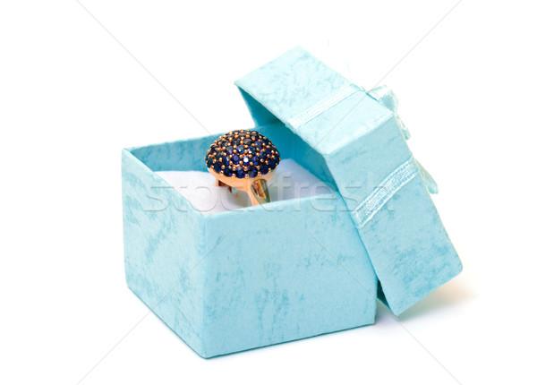 Ciánkék ajándékdobozok gyűrű közelkép fehér szalag Stock fotó © Discovod