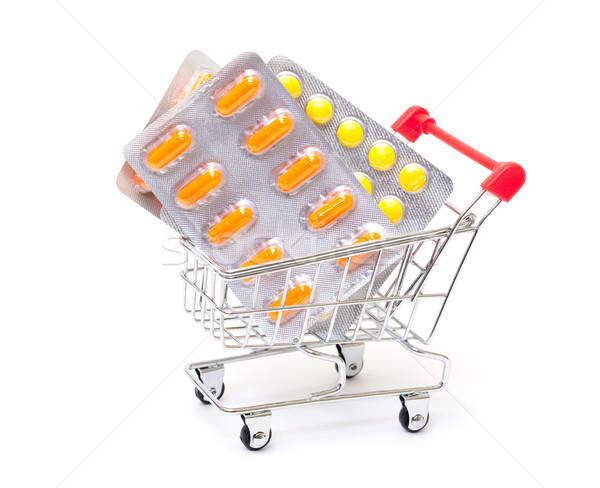 Hapları alışveriş sepeti beyaz sağlık turuncu Stok fotoğraf © Discovod