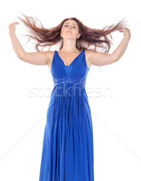 Portret mooie jonge vrouw Blauw jurk streaming Stockfoto © Discovod