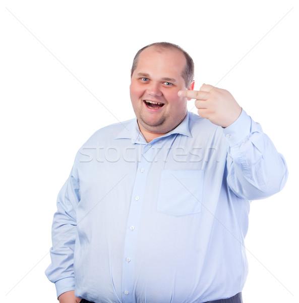 Gordo azul camisa obsceno gestos Foto stock © Discovod