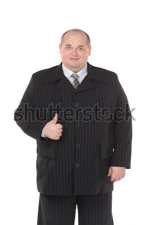 Elegancki grubas czarny garnitur szczęśliwy garnitur wykonawczej Zdjęcia stock © Discovod