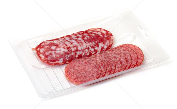 Stockfoto: Salami · container · witte · vlees · varken