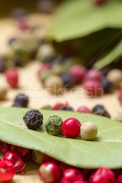 Dry bay laurel leaf with multicolored peppercorn Stock photo © Discovod