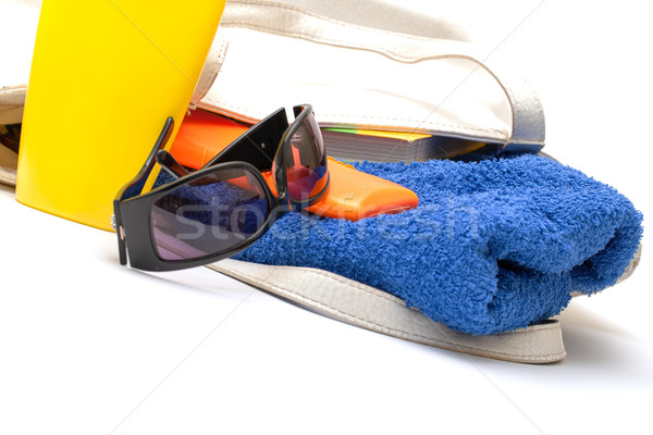 Beach Bag with Towel and Bottles Cream Stock photo © Discovod