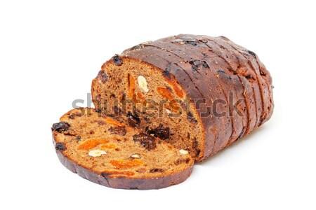 Ekmek fındık kuru üzüm beyaz stüdyo yemek Stok fotoğraf © Discovod