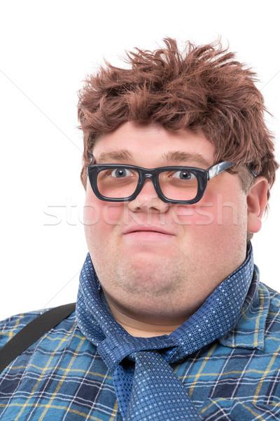 Übergewicht fettleibig junger Mann Land Gläser funny Stock foto © Discovod