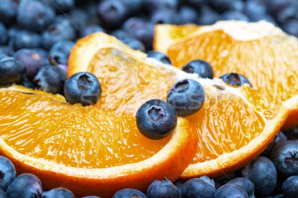 Foto stock: Mirtilos · laranja · comida · natureza