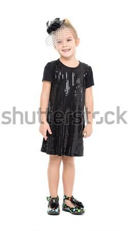 Küçük kız siyah elbise poz beyaz kız çocuk Stok fotoğraf © Discovod