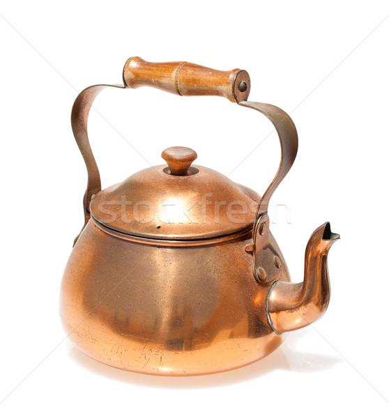 антикварная медь чайник изолированный белый Сток-фото © Discovod