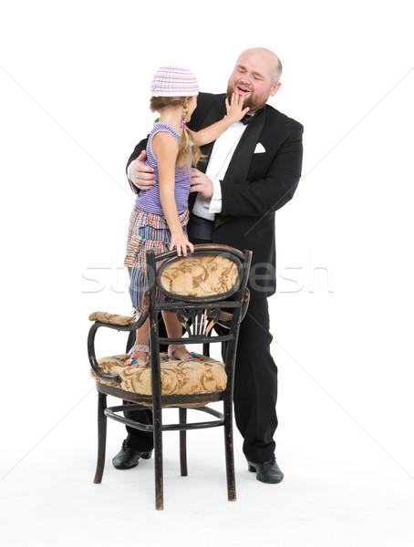 Kleines Mädchen Diener Smoking Spaß weiß Kind Stock foto © Discovod