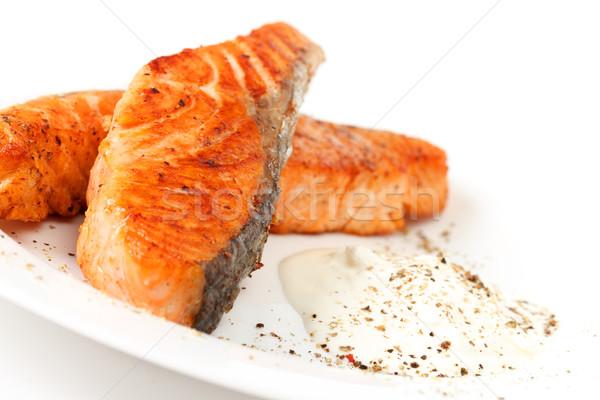フライド 鮭 ソース 白 プレート 食品 ストックフォト © Discovod