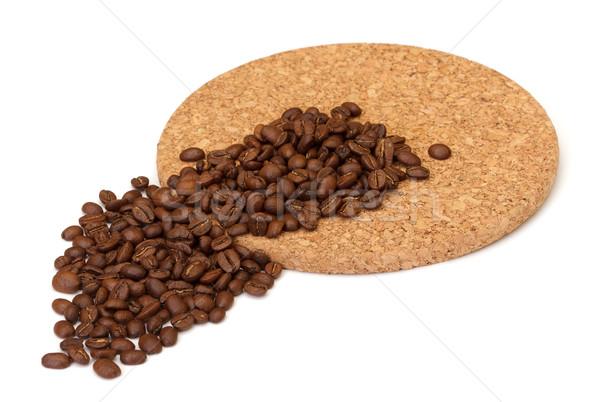 Grains de café blanche café café noir sombre Photo stock © Discovod