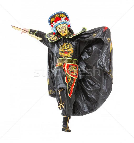 Homem samurai decorado traje ventilador branco Foto stock © Discovod