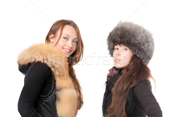 Two attractive women dressed for winter Stock photo © Discovod