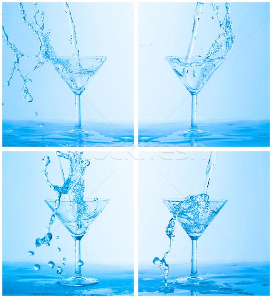 Foto stock: Colagem · água · copo · de · vinho · azul · vidro