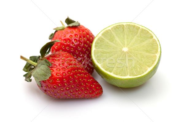 Morangos cal branco comida fruto Foto stock © Discovod