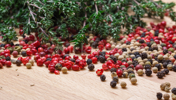 Dry thyme with multicolored peppercorn Stock photo © Discovod