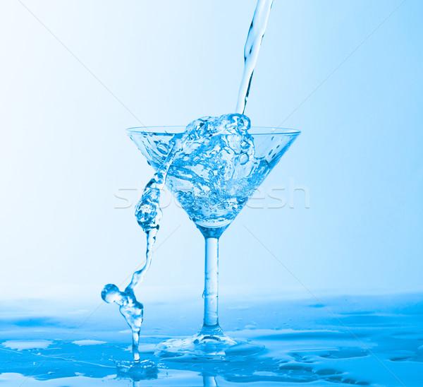 水 ワイングラス 青 ガラス ドリンク ストックフォト © Discovod
