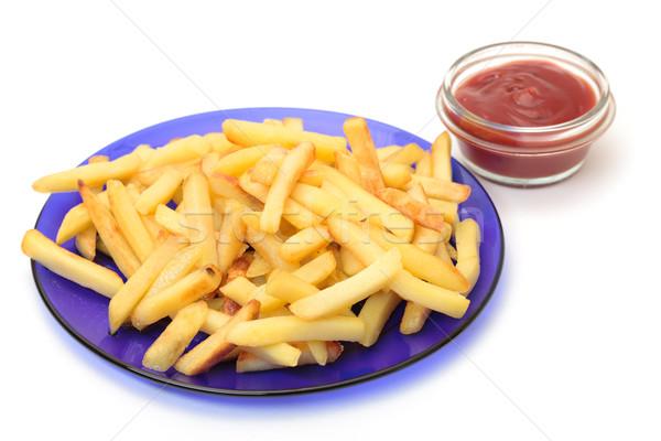 Foto stock: Frito · patatas · azul · placa · rojo · blanco