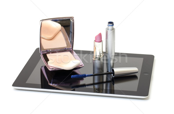 Cosmético conjunto branco mulher caderno Foto stock © Discovod