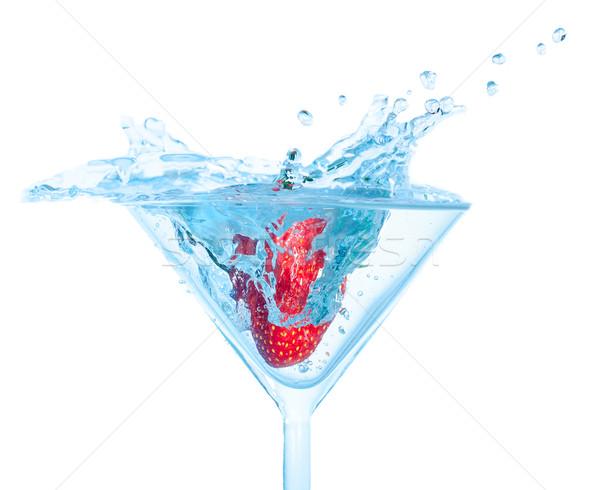 Stock fotó: Friss · eper · üveg · csobbanás · fehér · hátterek · víz