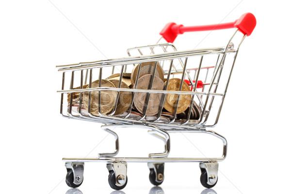 Stockfoto: Winkelwagen · munten · witte · business · geld · achtergrond