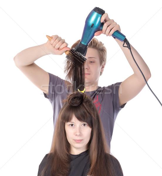 Frau genießen Haar Schlag getrocknet isoliert Stock foto © Discovod