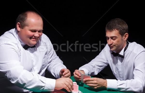 Iki beyler beyaz iskambil kartları siyah Stok fotoğraf © Discovod