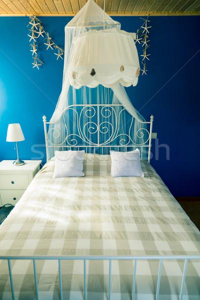 Klasik çift boyut yatak sivrisinek perde Stok fotoğraf © Discovod