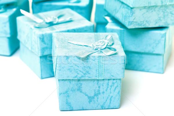 Ciano caixas de presente branco fita recipiente Foto stock © Discovod