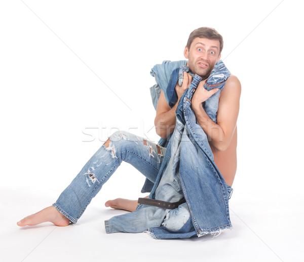 Hombre vestido atractivo indeciso sesión sin camisa Foto stock © Discovod