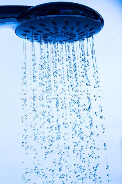 Насадка для душа работает воды фон синий Сток-фото © Discovod