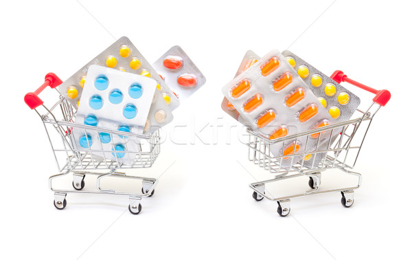 Multicolored pills packs in shopping cart Stock photo © Discovod