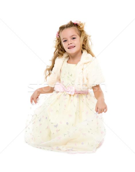 Little girl luz vestir posando branco menina Foto stock © Discovod