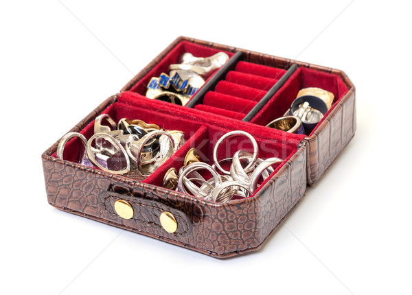 Leather jewelry box with rings Stock photo © Discovod