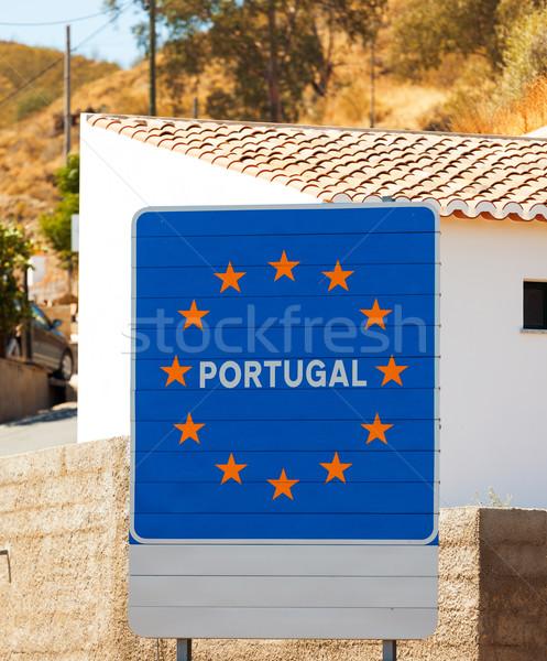 дорожный знак границе Португалия европейский Союза стране Сток-фото © Discovod
