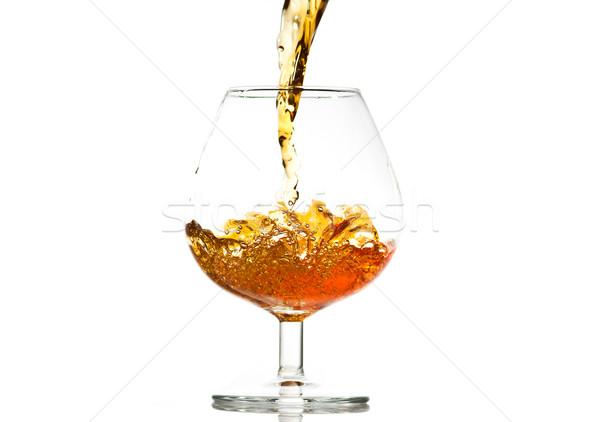 Relleno vidrio brandy primer plano fiesta ola Foto stock © Discovod