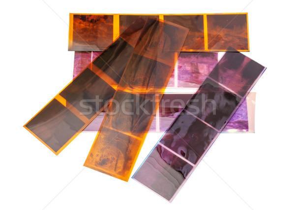 Eski negatif film yalıtılmış beyaz çerçeve Stok fotoğraf © Discovod