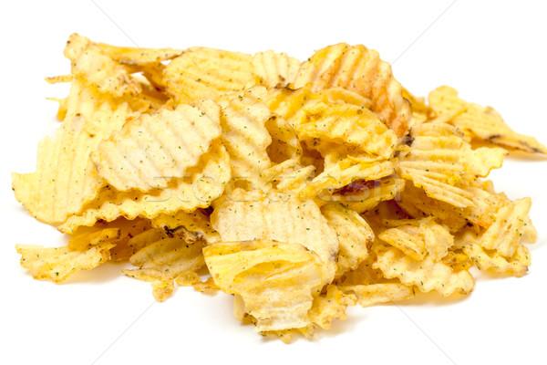 картофельные чипсы белый текстуры продовольствие еды соль Сток-фото © Discovod