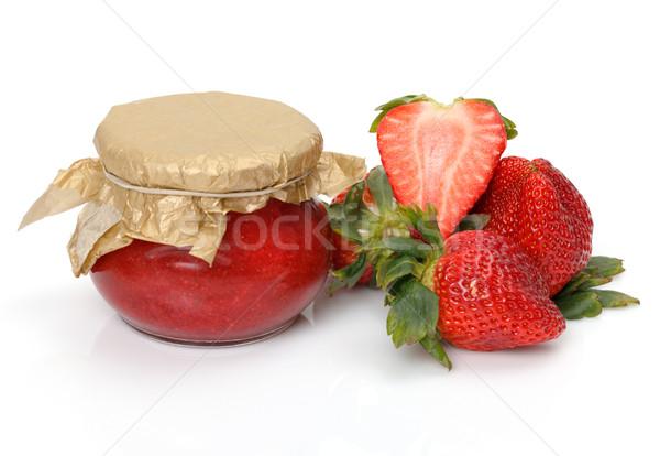 Fresco morangos branco comida folha Foto stock © Discovod