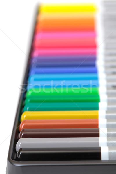 Tarka ceruza egyezség doboz fehér háttér Stock fotó © Discovod