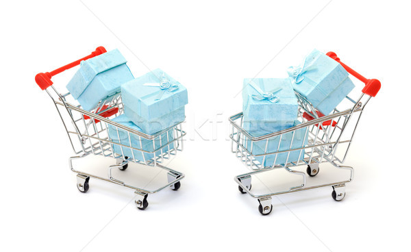 Cyan gift boxes in shopping carts Stock photo © Discovod